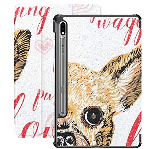 Funda para Galaxy Tab S7 Funda Delgada y Liviana con Soporte para Tableta Samsung Galaxy Tab S7 de 11 Pulgadas Sm-t870 Sm-t875 Sm-t878 2020 Versión, ilustración Vectorial Lindo Perrito Sonriente