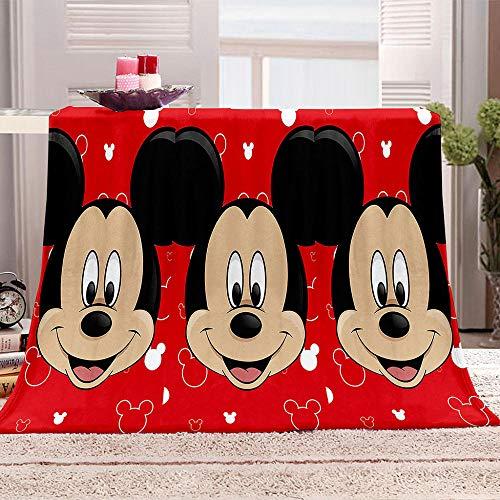 QHDHGR Manta De Tiro Súper Suave Y Cálida Dibujos Animados de Mickey Mouse Rojo Franela De Viaje De Picnic Manta Portátil Dormitorio Sofá Cama, Todas Las Estaciones 180cm * 200cm