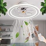 Ventilador De Techo LED Con Iluminación Moderno Lámpara De Techo Para Dormitorio Luz De Sala De Estar Regulable Con Control Remoto Lámpara De Ventilador Silencioso Luz De Techo Habitación De Niños