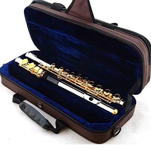 BESTSOON Konzertflöten Instrument Geschlossen Glas Gold Professionelle Flöte spielt Set mit Tragetasche Musikinstrumente Silber plattiert (Farbe : Gold, Größe : 16