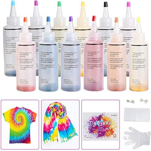 Ucradle Tie Dye Kit, 12 Stück Essort Stoff Textil Farben Tie-Dye Kit Vibrant Stoff Textil Farben mit 40 Stück Gummi Band und 1Vinyl Tischdecke