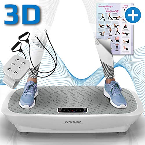 Kinetic Sports 3D Vibrationsplatte VPX800 VITAL Trainer PRO +2 leistungsstarke Motoren +Intuitiv +Leicht zu Bedienen +Fernbedienung +Trainingsposter +Trainingsbänder +Vibration Oszillation Weiss