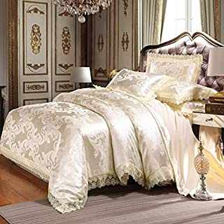 UniTendo 4 Piece Sateen Cotton Jacquard Duvet Cover Sets,Delicate Floral Pattern Bedding Sets,Duvet Cover Flat Sheet and 2 Pillowcases,Queen/Full Size, Creamy-White.