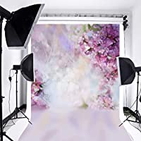 GooEoo 花の背景5x7ft油絵水彩画壁の花写真の背景ライトパープル咲く春桜要約写真スタジオ背景ボケ子供写真