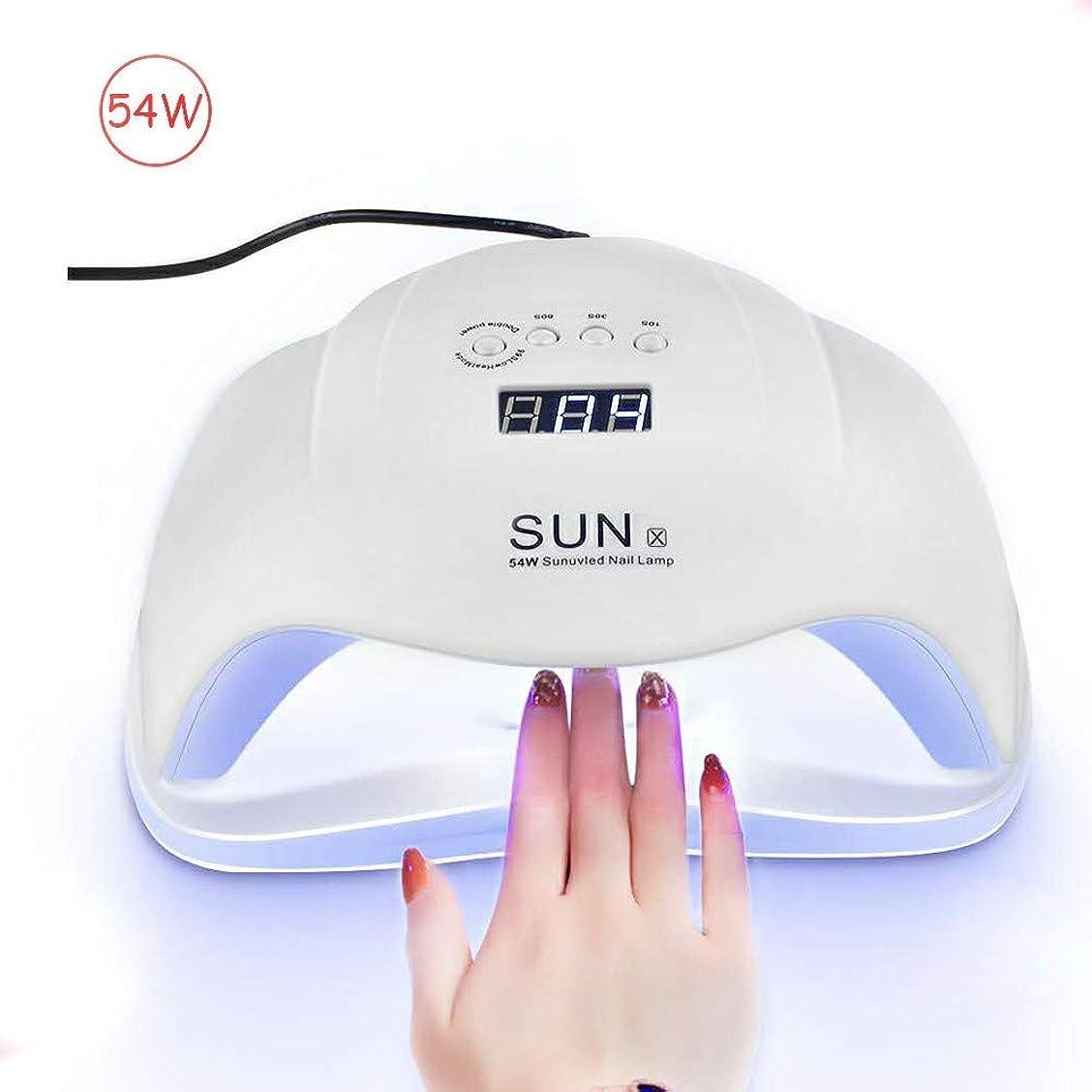 仕えるちょっと待って雪だるまネイルドライヤーSUNX 54W UV LEDネイルランプマニキュア用全てのゲル用ネイルドライヤーポリッシュツーハンドランプ赤外線センシング10/30 / 60s LCD