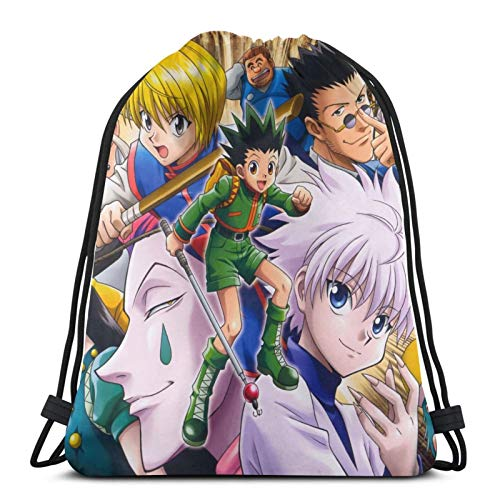 ghjkuyt412 Drawstring Bags Hunter X Hunter Style Anime Unisex Drawstring Backpack Sports Bag Rope Bag Big Bag Drawstring Tote Bag Gym Backpack in Bulk