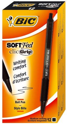 BIC Kugelschreiber Soft Feel Clic Grip, in Schwarz, Strichstärke 1.0 mm, 12er Pack, Ideal für das Büro, das Home Office oder die Schule