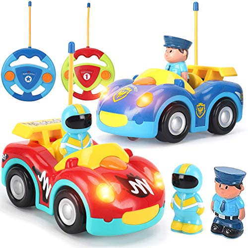 Liberty Imports 2 Pack RC Cartoon Police Car and Race Car Radio Remote Control Toys with Music & Sound for Baby, Toddlers, Kids