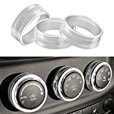 Kujunpao 3pcs Air Conditioner Switch Cover Interior Control Knob Covers Audio Compatible for Jeep JK Wrangler 2011-2018 and Dodge Challenger 2008-2014(Sliver)