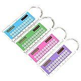 Ruikey Creative 10 cm Mini regla de plástico LCD Display Digital Calculator 2 en 1 portátil portátil de la calculadora de los niños en la escuela