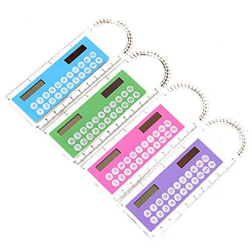 ruikey Creative 10cm Mini Kunststoff Lineal LCD Display Digital Taschenrechner 2in 1Kinder tragbar Taschenrechner Zählen Stationery Schule