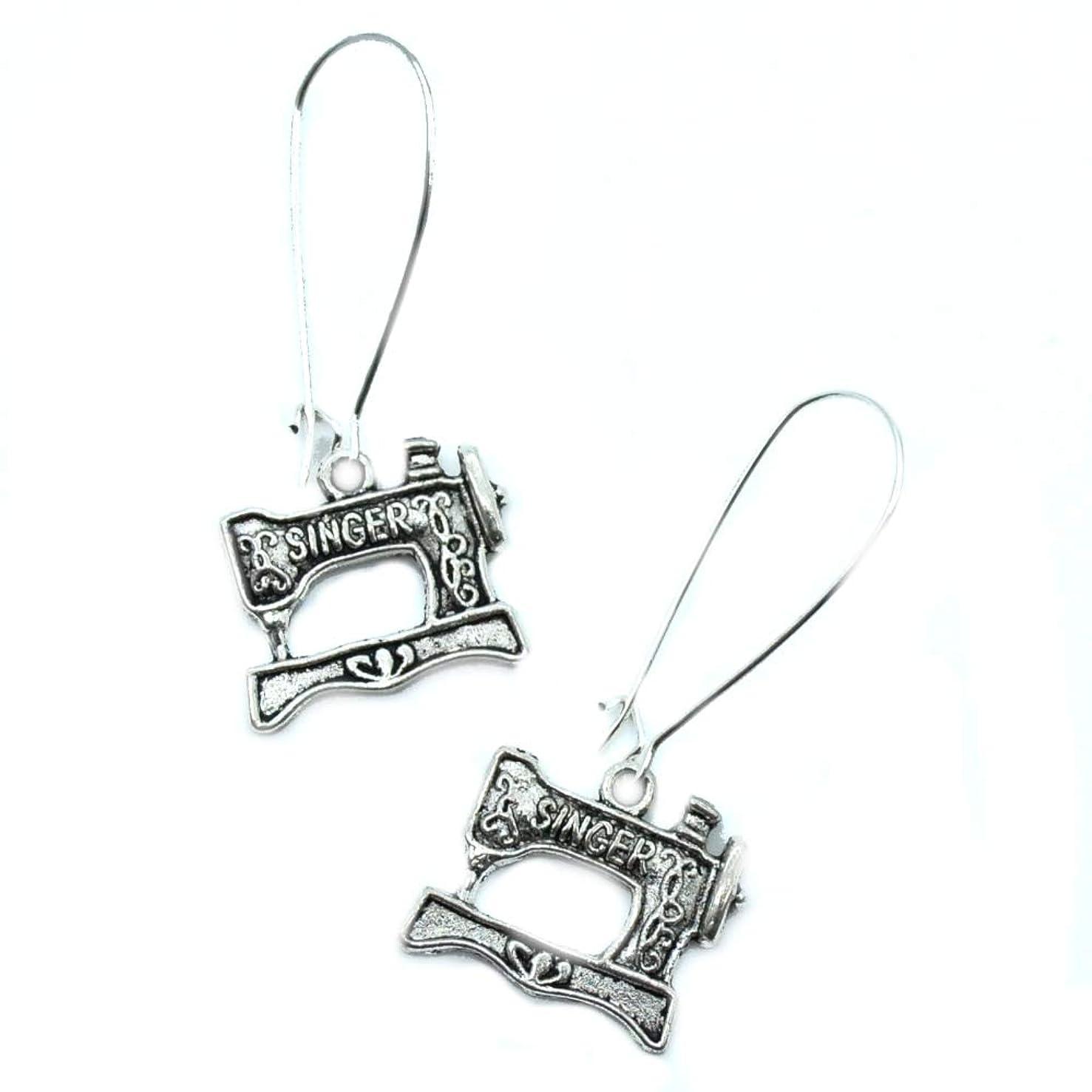 Singer Sewing Machine Silver Charm Earrings
