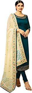 Ready To Wear Bollywood Designer Satin Georgette Straight Suit Salwar Kameez Heavy Border Dupatta Festive Ethnic Women Traditional Punjabi Wedding Party Wear Dress 8666