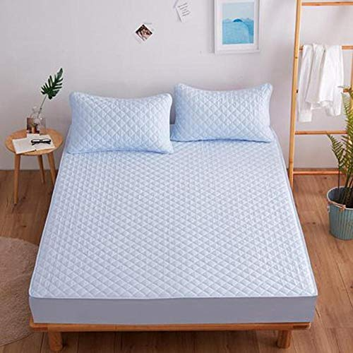GTWOZNB Soft Plain Dyed Fitted Bed Sheets,Double,King, Non-slip and dust-proof hotel bed sheet-blue_200*200cm