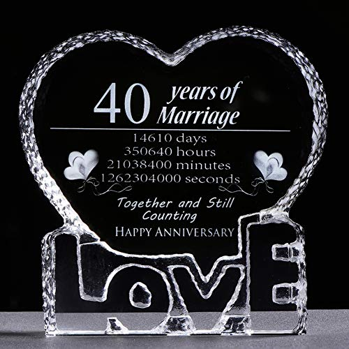 K9 Crystal Glass Sculpture Laser Engraved 40 Years of Marriage with Gift...