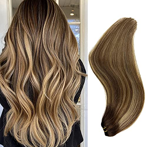 Hair Weft Sew in Extensions, Remy Human Hair Extensions Ombre Brown with Honey Blonde Highlights Real Hair Weft Extensions 120G Balayage Hair Bundles Human Hair Weave Hair 24 Inch for Women
