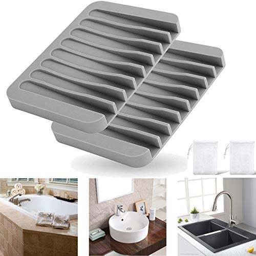 SITREMEN 2 PCS Silicone Soap Dish, Bathroom Soap Holder, Bathtub Shower Dish, Bar Soap Case for Sponges Scrubbers Bathroom and Kitchen, with 2 PCS Soap Exfoliating Bag