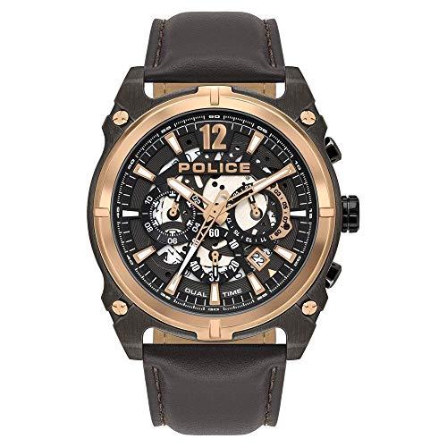 Police Watches Antrim Herren Uhr analog Quarzwerk mit Leder Armband PL.16020JSUR-61