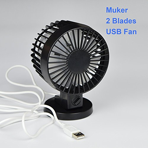 [2015 Nuovo] Socoom 2-Blades USB Fan/ Ventilatore USB ventilatore da tavolo / ventola PC / notebook in nero