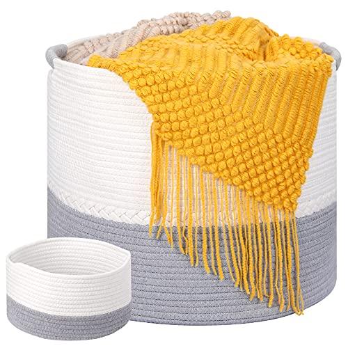 Cesta de Colada - 43 × 38cm Grande Cesta Ropa Organizador de Cuerda Sucia de algodón Decorativa con Asa para Almacenaje de Ropa | Juguetes | Mantas Cesta para la Colada