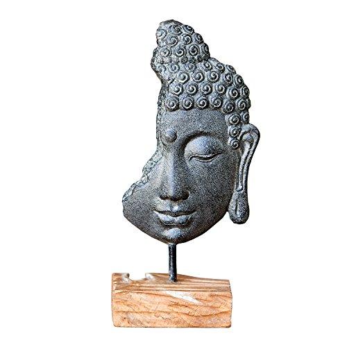 Garden Age Supply Buddha Head on Stand, Buddha Head Statue Figurine, Oriental Bodhisattva Enlightenment Sculpture Table Top Décor with Stand
