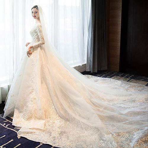 Brautkleid Brautkleid Retro Minimalistisch Langarm Trailing S Weiß