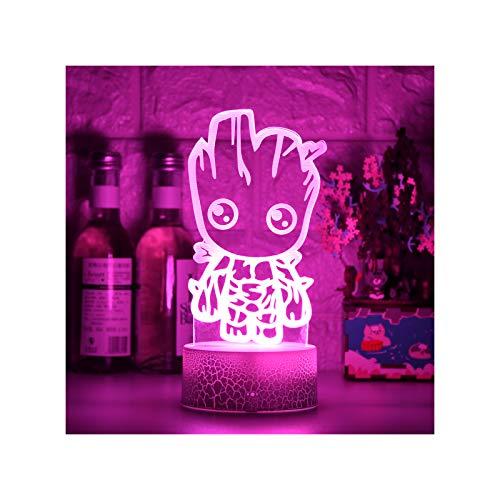 HOKVJ Lámpara De Ilusión Led 3D Luces Nocturnas Novedad Hombrecito De Madera Juguete Lindo Regalo Lámpara De Atmósfera De Dibujos Animados De 7 Colores para Niños Regalos Decoración De Dormitorio