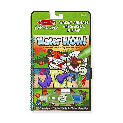 Melissa & Doug On the Go Water Wow! Wacky Animals Flip Pad (The Original Reusable Coloring Book, Refillable Water Pen, Great Gift for Girls and Boys - Best for 3, 4, 5, 6, and 7 Year Olds)