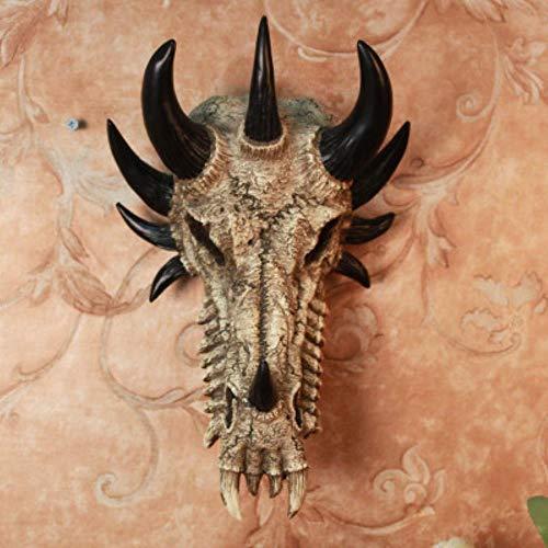 Amerikaanse land wandkleden creatieve schedel, draken botten decor muurschildering/Wall Bar dier draak schedel in hars halloweencadeau, lichtgeel, 28x20x16cm