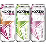 Rockstar Energy Drink Pure Zero 3 Flavor Variety Pack 16 oz Cans Pack, 12 Count