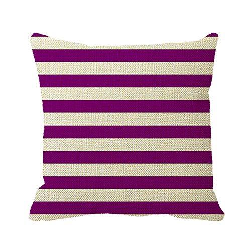 Axige888 Fundas de almohada de 45,7 x 45,7 cm, diseño de rayas, color blanco y morado