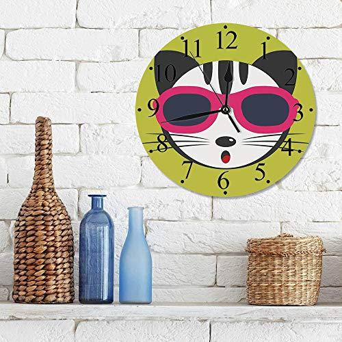 Silencioso Wall Clock Decoración de hogar de Reloj de Redondo,Animal, lindo gatito con gafas de sol rosadas Cool Modern Hipster Cat Fashion Fun Pets Art ,para Hogar, Sala de Estar, el Aula