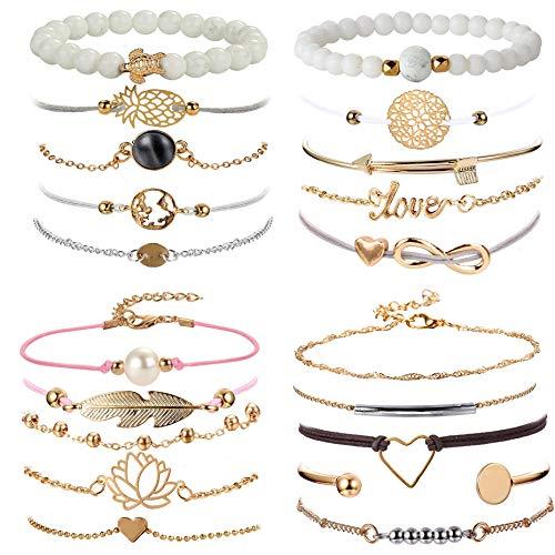YADOCA 20 Pcs Ensemble Bracelets pour Femme Fille Multi Bracelet Infini Perle Plume Charm Bijoux Femme Bracelet Layered Bead Bracelet Cadeaux pour Elle