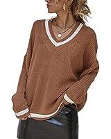 Womens V Neck Long Sleeve Pullover Sweater Loose Color Block Jumper Tops Khaki
