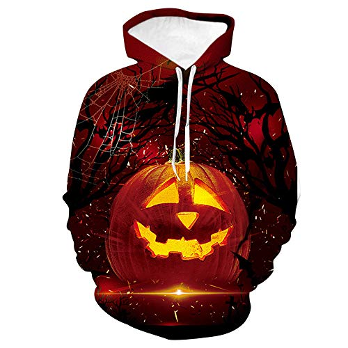 Zip-Up Hoodie Sweatshirt Baseball Uniform for Teenage Boy, Halloween Pumpkin Light Print Red Hoodie M