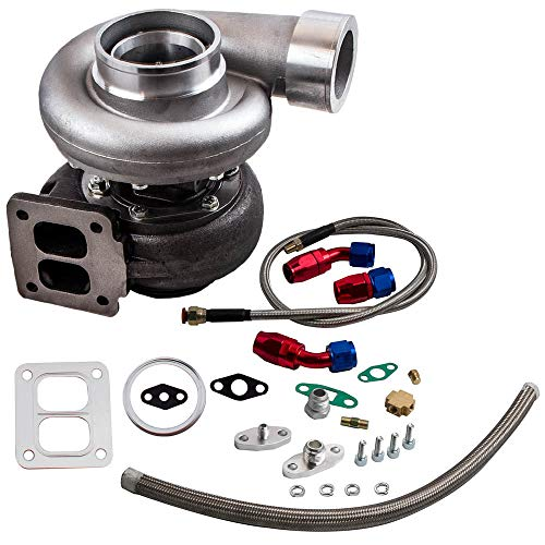 maXpeedingrods GT45 T4 V-Band 1.05 A/R Turbo Charger 98m Huge 600+HPS + Oil Drain Feed & Return Line Kit