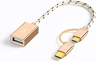 Micro USB + Type C to USB,CableCreation Micro USB + Type C to USB 2.0アダプタ ショートOTGケーブル(On-The-Go) Pixel 3XL 2XL / Galaxy S1...