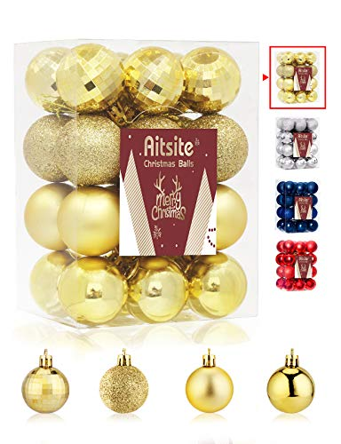 Aitsite 24ct Christmas Tree Ornaments Set 1.57 inches Mini Shatterproof Holiday Ornaments Balls for Christmas Decorations (Gold)
