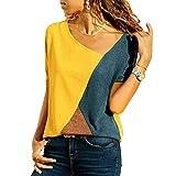 WinCret Camisetas Mujer Manga Corta - Blusa de Costura Color de Contraste Cuello Redondo - Moda Camisas Top Patchwork Verano Casual