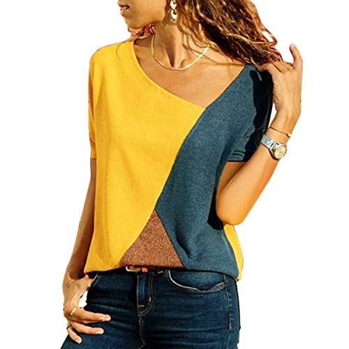 WinCret Camisetas Mujer Manga Corta - Blusa de Costura Color