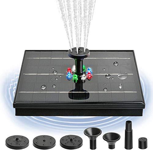 Solar Springbrunnen mit LED Lights 4W Teichpumpe Garten Wasserpumpe Eingebaute 1200mAh Batterie Schwimmender Fontäne mit 4 Fontänenstile für Garten, Teich, Vogelbad