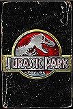 Jurassic Park Logo II Cartel Retro de hojalata, Cartel Vintage, Placa, decoración de Pared para Bar, cafetería, jardín, Dormitorio, Oficina, Hotel, 20X30 cm