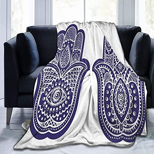Manta de forro polar ultra suave para adultos con dos figuras de Fátima con adornos étnicos antiguos asiáticos, suave y cómoda manta de sofá