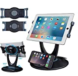 Business Retail Tablet Stand, 360 Rotates iPad Stand for 6 inch to 13 inch Tablets, Swivel Tablet Holder w Pen Storage and Phone Stand for Store Office Showcase Reception Kitchen Desktop, 5025 Black