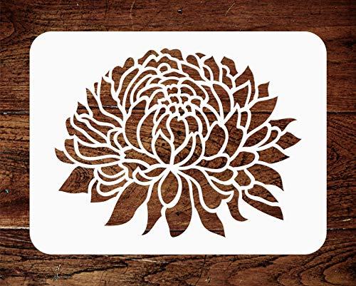 Chrysanthemen-Schablone – 21,5 x 16,5 cm – Wiederverwendbare große Blume Flora Mums Wandschablone – Verwendung für Papierprojekte, Scrapbook, Tagebuch, Wände, Böden, Stoff, Möbel, Glas, Holz usw.