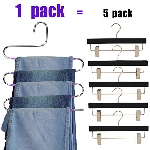 Benavvy 8 Pack Pants Hangers S-Type, Stainless Steel Pant Hangers, for Closet Organization with Multi-Purpose, Jeans, Slacks, Towels, Scarfs, Ties, Space Saving Storage (Purple)