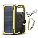 BSAMZ Externe Akku,15000mAh Dual USB Außen Tragbare Solar Ladegerät mit LED, schön Power Bank...