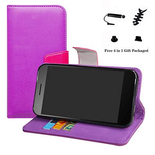 LFDZ Vodafone Smart E8 Hülle, [Standfunktion] [Kartenfächern] PU-Leder Schutzhülle Brieftasche Handyhülle für Vodafone Smart E8 Smartphone (mit 4in1 Geschenk Verpackt),Violett