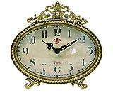 NIKKY HOME - Reloj de mesa con diseño vintage de cuarzo, analógico, oficina y estante para salón, cuarto de baño, decoración de metal dorado