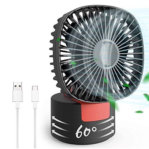 WLGQ Ventilador de Escritorio Ventilador de Escritorio USB Mini Ventilador de Escritorio, 180 Grados;Plegable con 60 Grados;Ventilador portátil 2 en 1 con Cabezal Giratorio, Ajustable en 3 Velo